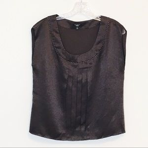 Talbots Brown Silk Sleeveless Beaded Blouse 8P